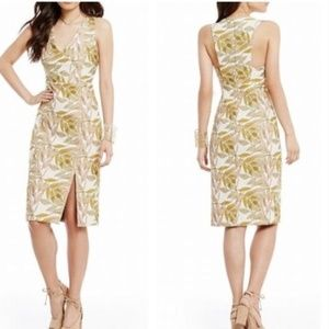Gianni Bini Beckham Leaf Jacquard Cutout Dress